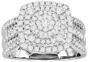 Large 1.0ct Diamond 14kt White Gold Round Cluster Square Leaf Pave Promise Ring