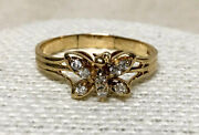 0.40ct Diamond 14k Yellow Gold Butterfly Ladies Christmas Bridal Ring