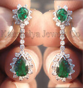 1.02ct Diamond Emerald 14k White Gold Awesome Evergreen Good Looking Earrings