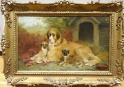 Fine 19th Century St Bernard Dog Mother And Puppies Kennel Edwin Frederick Holt