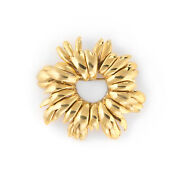 Vintage And Co Wreath Brooch 18k Yellow Gold Italy Round 1980s Jewelry