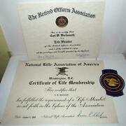 Nra Life Member Patch And Certificates Retired Officers Association