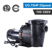 2speed 1/ .75hp High-flo In/above Ground Swimming Pool Pump Energy Saving 115v