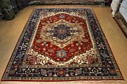 9and039 X 12and039 Handmade Rug Made Out Of Natural Wool Rust Blue Oriental Carpet