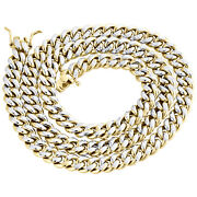 10k Yellow Gold Hollow Miami Cuban Link Chain 8.75mm Box Clasp Necklace 20-24