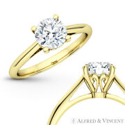 Forever One D-e-f Round Moissanite 4pr Solitaire 14k Yellow Gold Engagement Ring