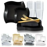 Disposable Plastic Dinnerware Set Party Package Square Wave Design Dinner Plates
