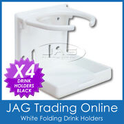4 X Fixed Folding White Drink Holders - Boat/marine/caravan/4x4/rv/car Cup/can
