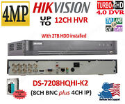 Hikvision Ds-7208hqhi-k2 4mpandnbsp8ch Hd-tviandnbspdvr + 4ch Ip Ch With 2tb Hdd Installed