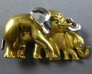 Estate Large .04ct Diamond 18kt 2 Tone Gold 3d Mother And Baby Elephant Brooch Pin