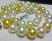 Huge 1812-15mm Natural South Sea Genuine White Gold Pearl Necklace Round Aa+