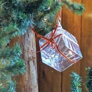 Steuben Vintage 1999 Holiday Gift Box Crystal Holiday Ornament With Pouch