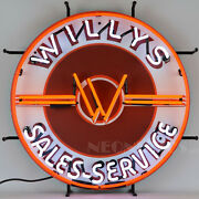 Willys Jeep Neon Sign 4x4 Wwii Dads Shop Garage Wall Lamp Light Mb Wagon Cj-3a