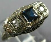 Antique .71ct Old Mine Diamond And Aaa Sapphire 14kt White Gold 3d Art Deco Ring