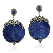 Floral Design Carved Sapphire Diamond Gold 925 Sterling Silver Dangle Earrings