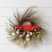 New Primitive Rustic Vintage Red Truck Enjoy Today Wreath Hanging 26