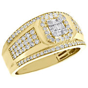 14k Yellow Gold Round And Baguette Diamond Statement Pinky Ring 12.50mm Band 1 Ct.