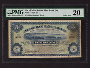 Isle Of Manp-5,5 Pounds,1927 Douglas Harbor Solid Number 9999 Pmg Vf 20