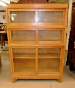 Oak 3 Stack Sliding Door Barrister Book Case With Top And Bottom