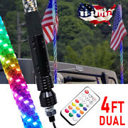2x 4ft Led Rgb Dancing Whip Lights With Remote Control For Atv Utv Rzr 4wd
