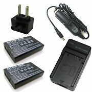Charger + 2x 3.7v 1800mah Battery For Toshiba Camileo H-30 Hd H-31 Hd X-100 Hd