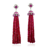 Pave Diamond And Natural Ruby Beads Tassel Earrings 18k Gold 925 Silver Jewelry
