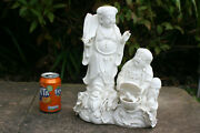 Large Chinese White Porcelain Carved 2 Figurine Statue - Marks
