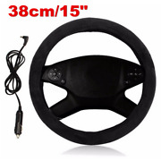 Car Accessories 12v Comfortable Fast Heated Steering Wheel Cover Black 38cm/15