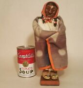 Skookum Doll Vtg Native American Indian Toy Woman Blanket Beads Hair Shoes