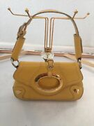 Dolce And Gabbana Yellow Pebbled Leather Ring Shoulder Bag Authentic Gorgeous