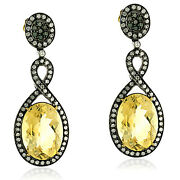 22.7ct Citrine Pave Diamond 18k Gold 925 Sterling Silver Dangle Earrings Jewels