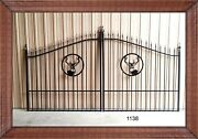 Wrought Iron Style Steel Driveway Gate 11and039 - 12and039 Wd Home Yard Outdoor Security