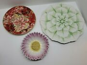 Vtg Flower Petal Plate Platter And Bowl Mixed Lot Of 3 Made In Italy F Giorgi Rare