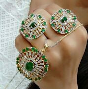 Indian Bollywood Green Stone Emerald Pendant Necklace Jewelry Gold Plated Lady