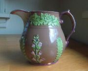 1830s Rare Pink Luster 4 1/2pitcher With Raised Relief Emb Flowers And Plants