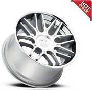 4ea 22 Staggered Blaque Diamond Wheels Bd-27 Silver Machined With Chrome S1