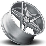 4ea 22 Staggered Blaque Diamond Wheels Bd-8 Silver With Polished Rims S2