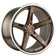 4ea 20 Staggered Vertini Wheels Rfs1.7 Brushed Bronze With Chrome Lip S1