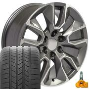 5916 Gunmetal 20x9 Wheels Goodyear Tires Tpms Set Fit Gmc And Chevy