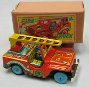 Early 1950's Tin Fire Jeep - Mint In Box - Made In Japan