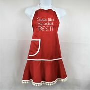 Two's Company Novelty Womens Red Apron Christmas Design New