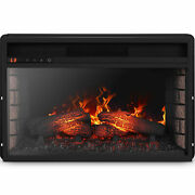 Electric Insert Heater Embedded Fireplace Glass View Log Flame Timer W/ Remote