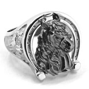 Solid 18k White Black Gold Band Man Ring Horse Head Herd Horseshoe Finely Worked