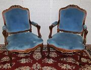 Antique Country French Pair Fauteuil Armchairs Carved Walnut Lxv W/gold Accents