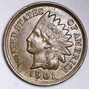 1901 Indian Head Small Cent Choice Unc Free Shipping E110 T