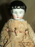Antique 1800and039s Germany China Head Hands Legs Silk And Lace Dress 11and039and039 Doll