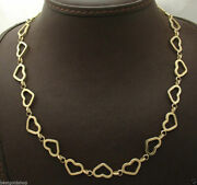 Open Heart Chain Necklace With Toggle Clasp Real 14k Yellow Gold All Sizes