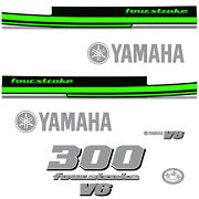 Yamaha 300 Four Stroke Die Cut Decals Outboard Engine Graphics Motor 300hp Green