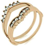 Estate .38ct Diamond 14kt Rose Gold 3d Round Classic 2 Row Double V Insert Ring