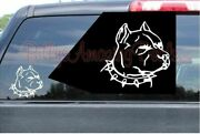 Pit Bull Head Vinyl Decal Red Nose Blue Dog Face Car Truck Window Sticker Bully